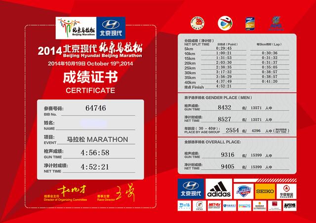2014北京马拉松参赛成绩证书